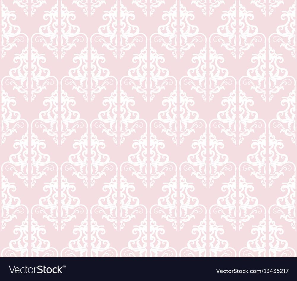 Damask seamless pattern background pastel pink vector image