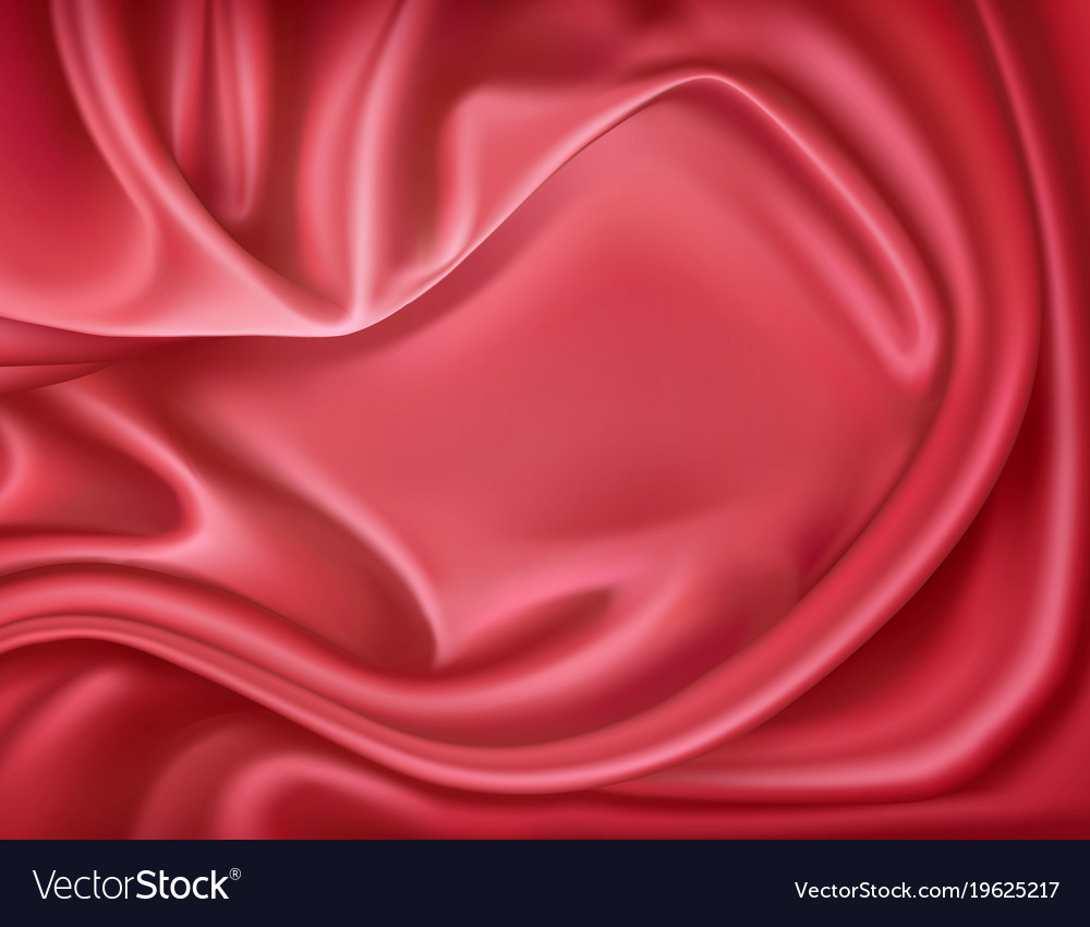Luxury realistic red silk satin textile vector image