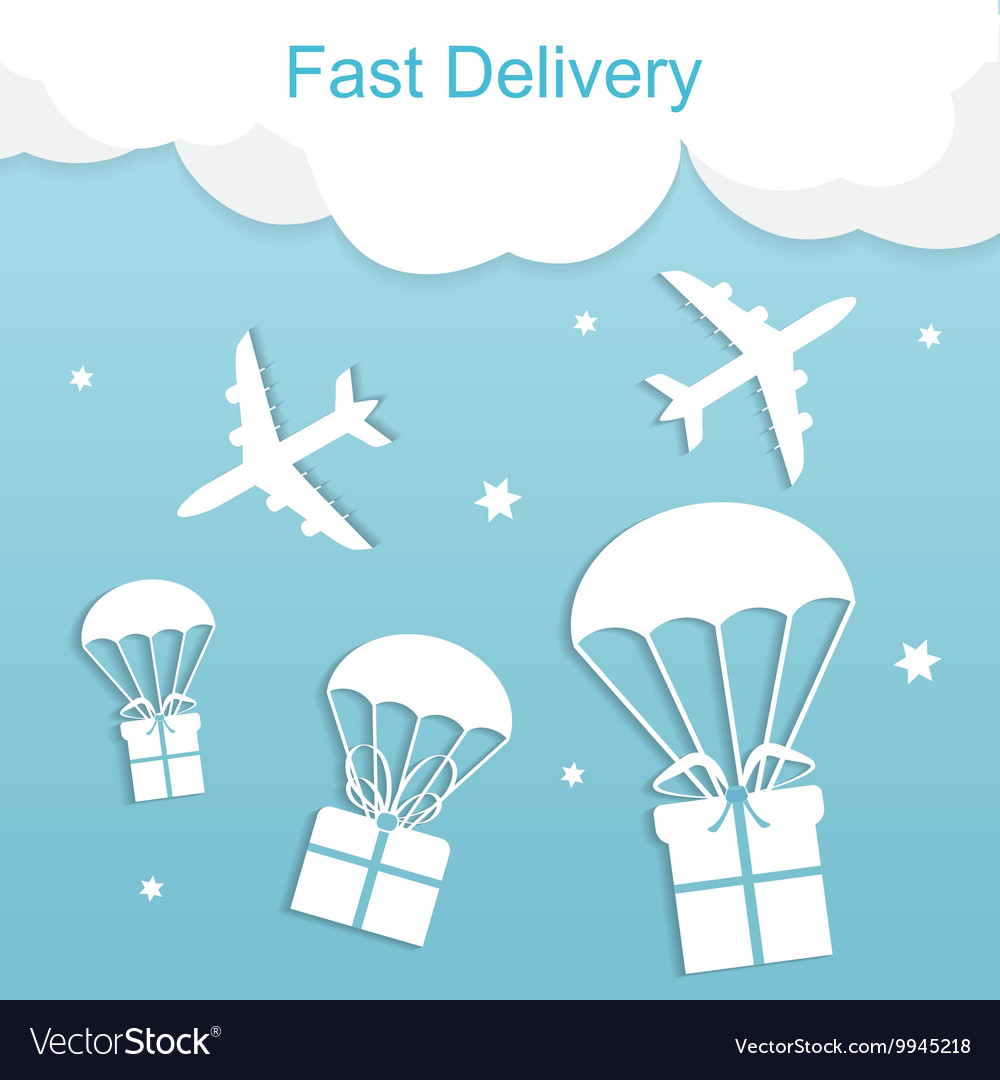 Concept of fast delivery airplane with gift boxes vector image