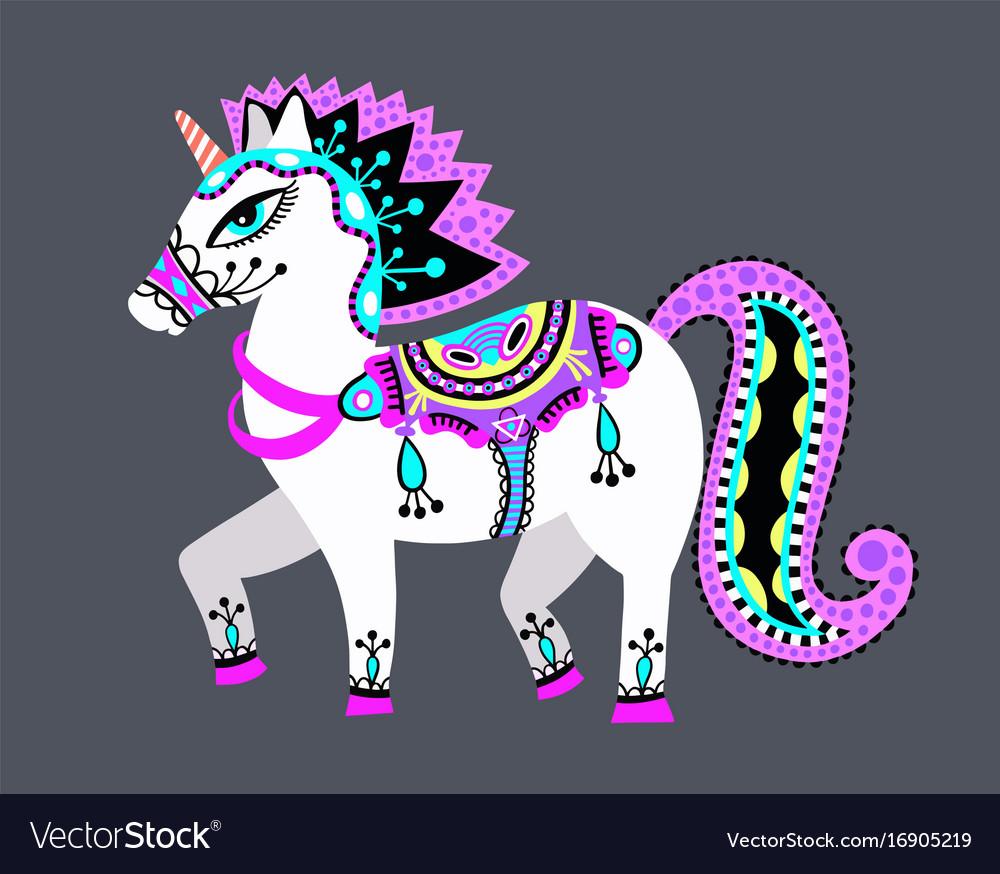 Original drawing of unicorn horse in ukrainian vector image