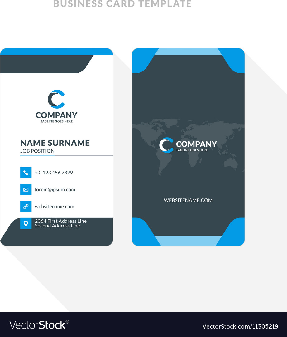 Vertical Doublesided Business Card Template Blue Vector Image - Double sided business card template