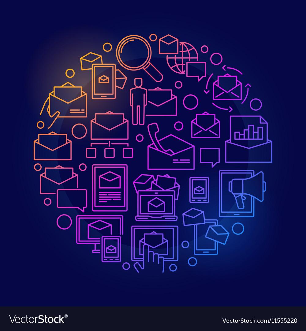 E-mail circular colorful symbol vector image