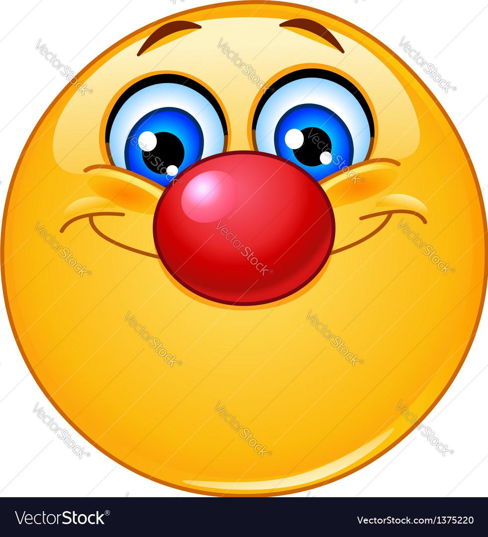Emoticon with clown nose vector image