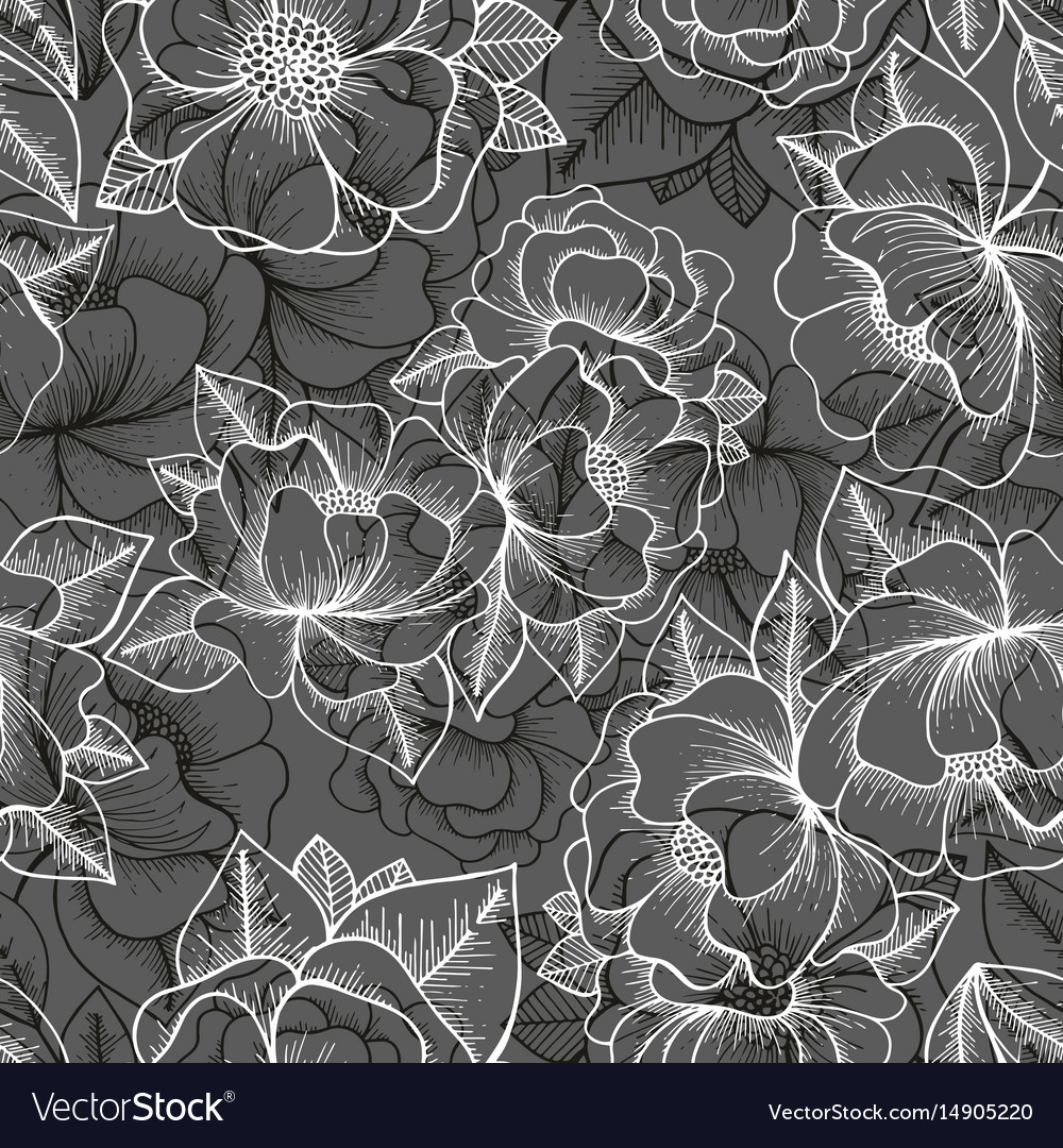 Floral seamless pattern hand drawing pattern vector image