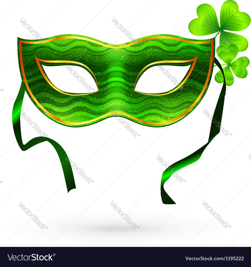 Green carnival mask with clovers vector image