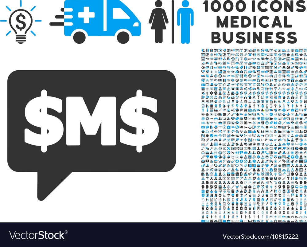 Sms bubble icon with 1000 medical business symbols sms bubble icon with 1000 medical business symbols vector image biocorpaavc Images