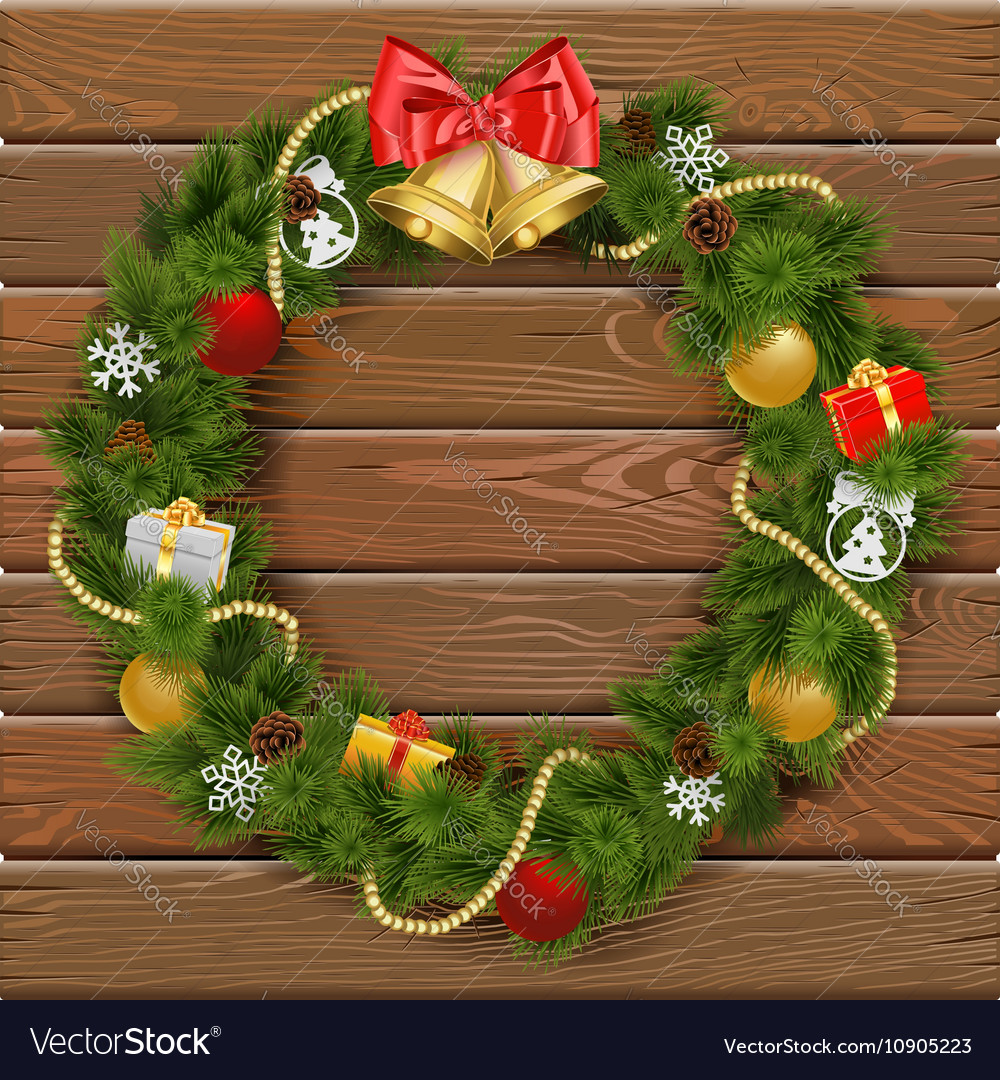Christmas Wreath on Wooden Board 2 vector image