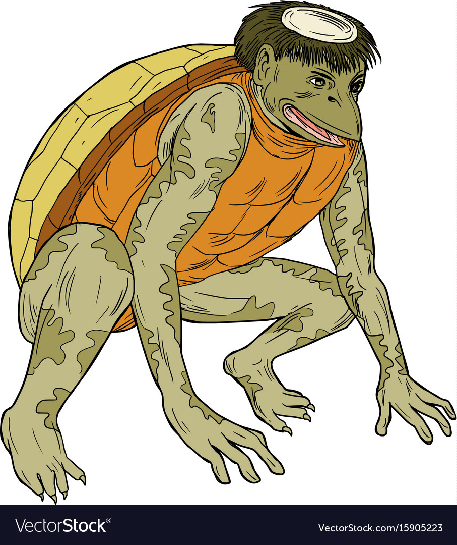 Kappa monster crouching drawing vector image