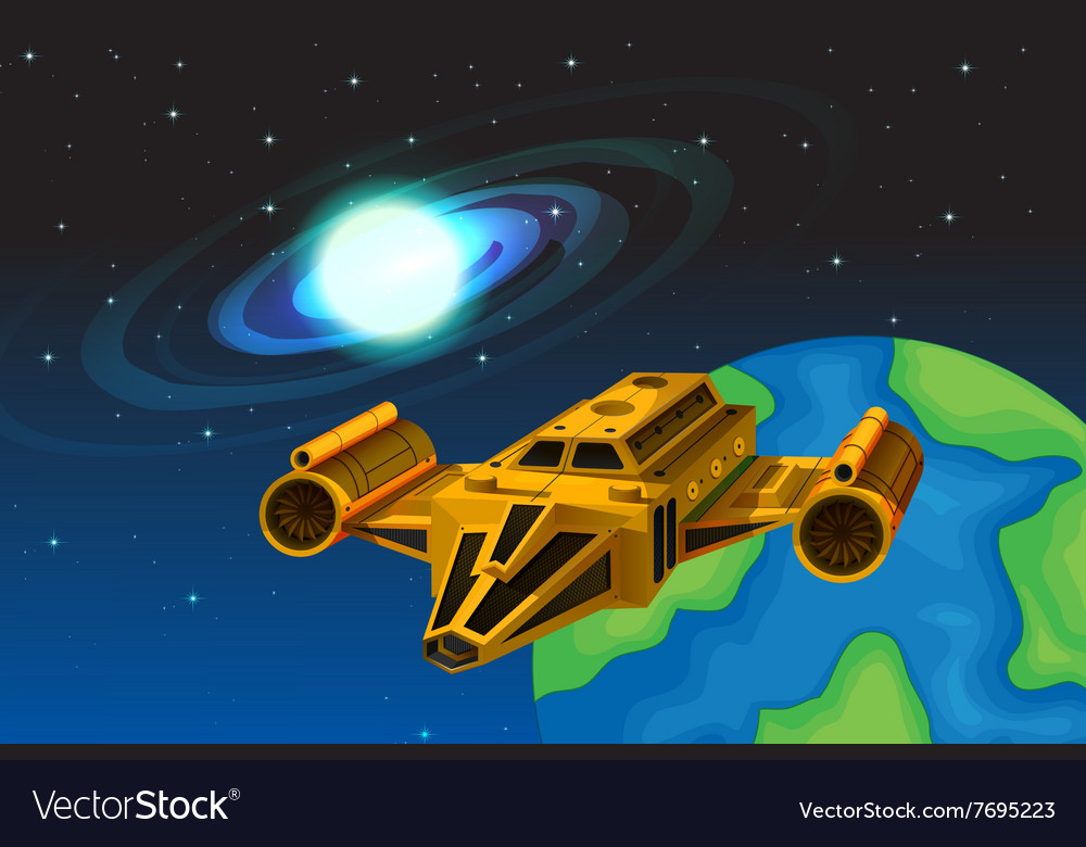 Spaceship flying away from the earth vector image