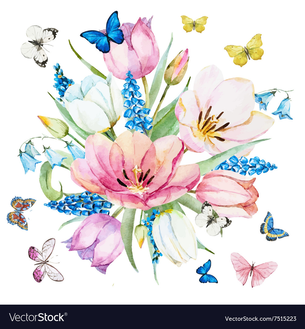Watercolor spring flowers royalty free vector image watercolor spring flowers vector image mightylinksfo Gallery
