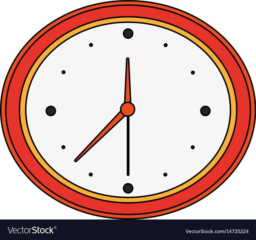 Color Image Cartoon Analog Wall Clock Royalty Free Vector