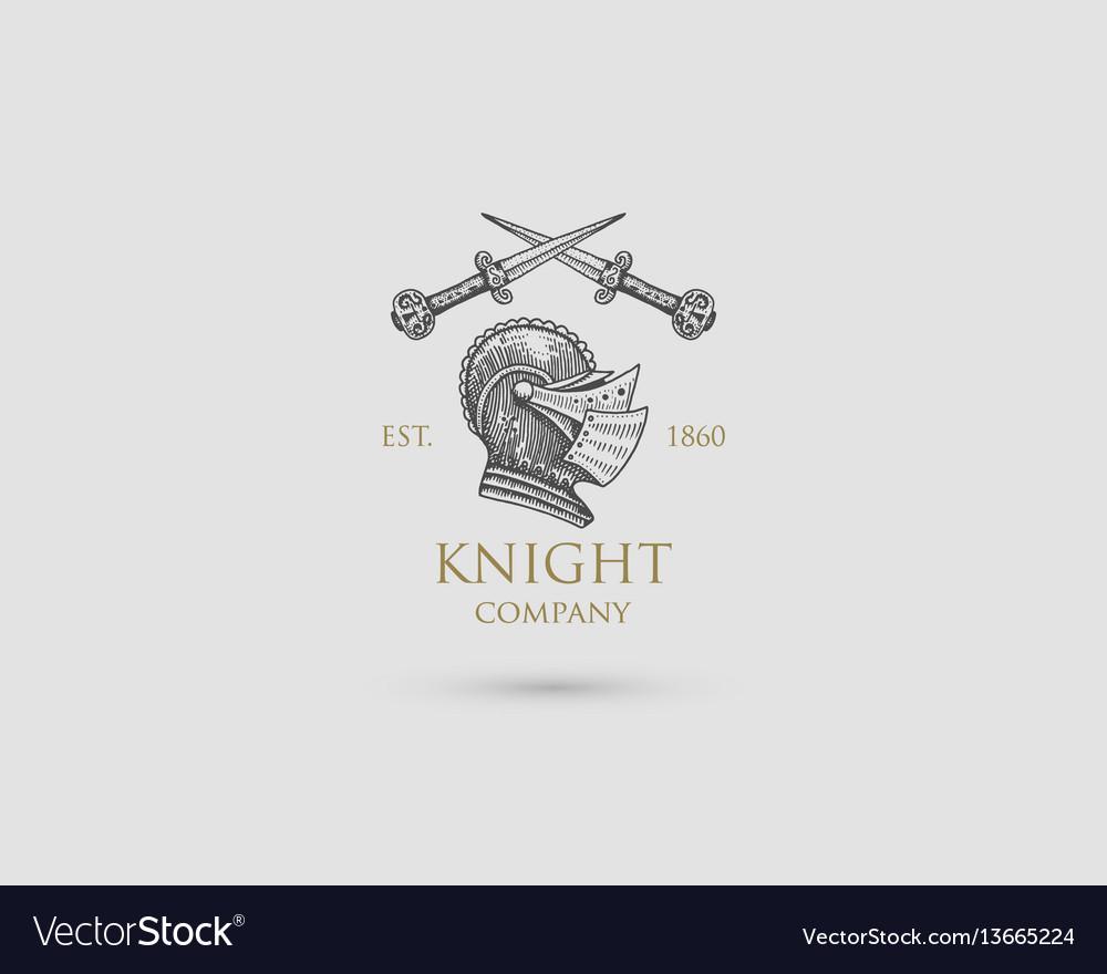 Helmet logo medieval knight antique vintage vector image
