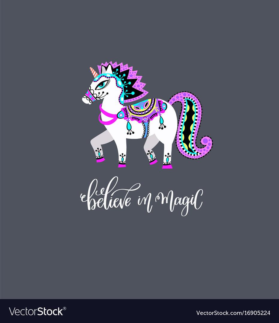 Original drawing of unicorn horse vector image