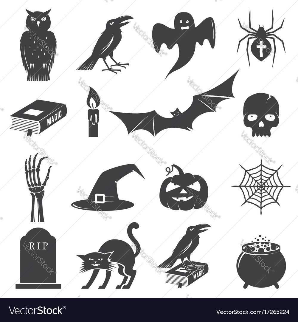 Set of halloween icon silhouette vector image