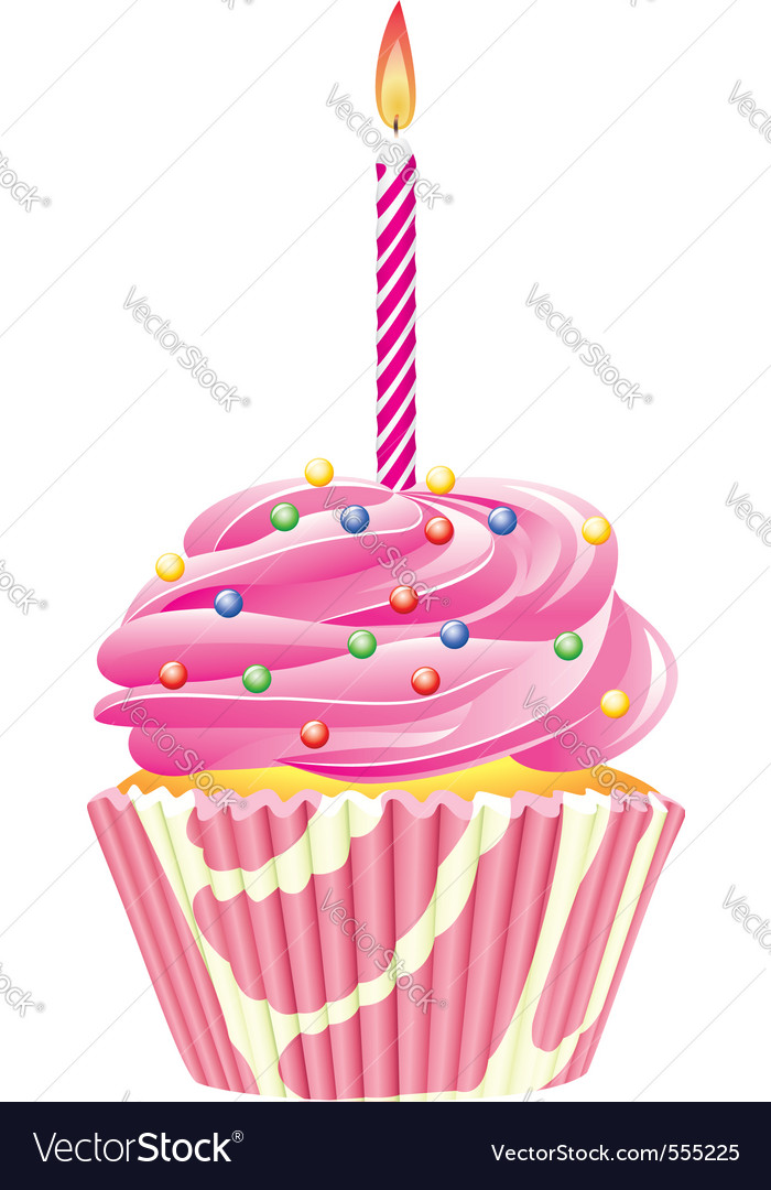 Cupcake candle vector image