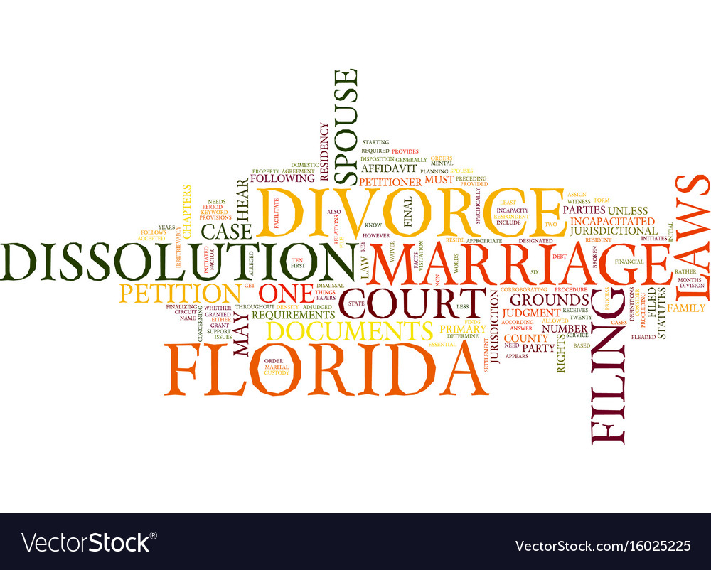 Florida divorce laws text background word cloud vector image