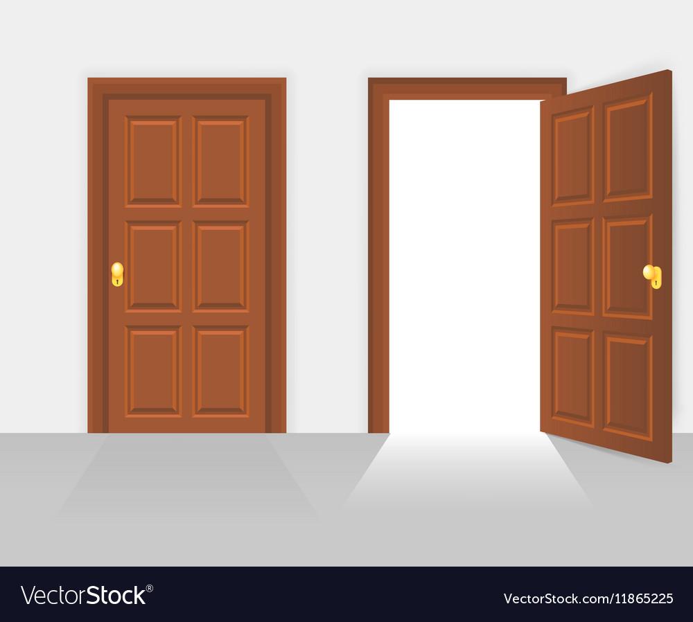house front door open. Open And Closed House Front Door Vector Image