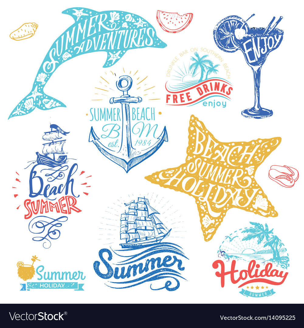 Set of hand drawn watercolor ribbons and stickers vector image