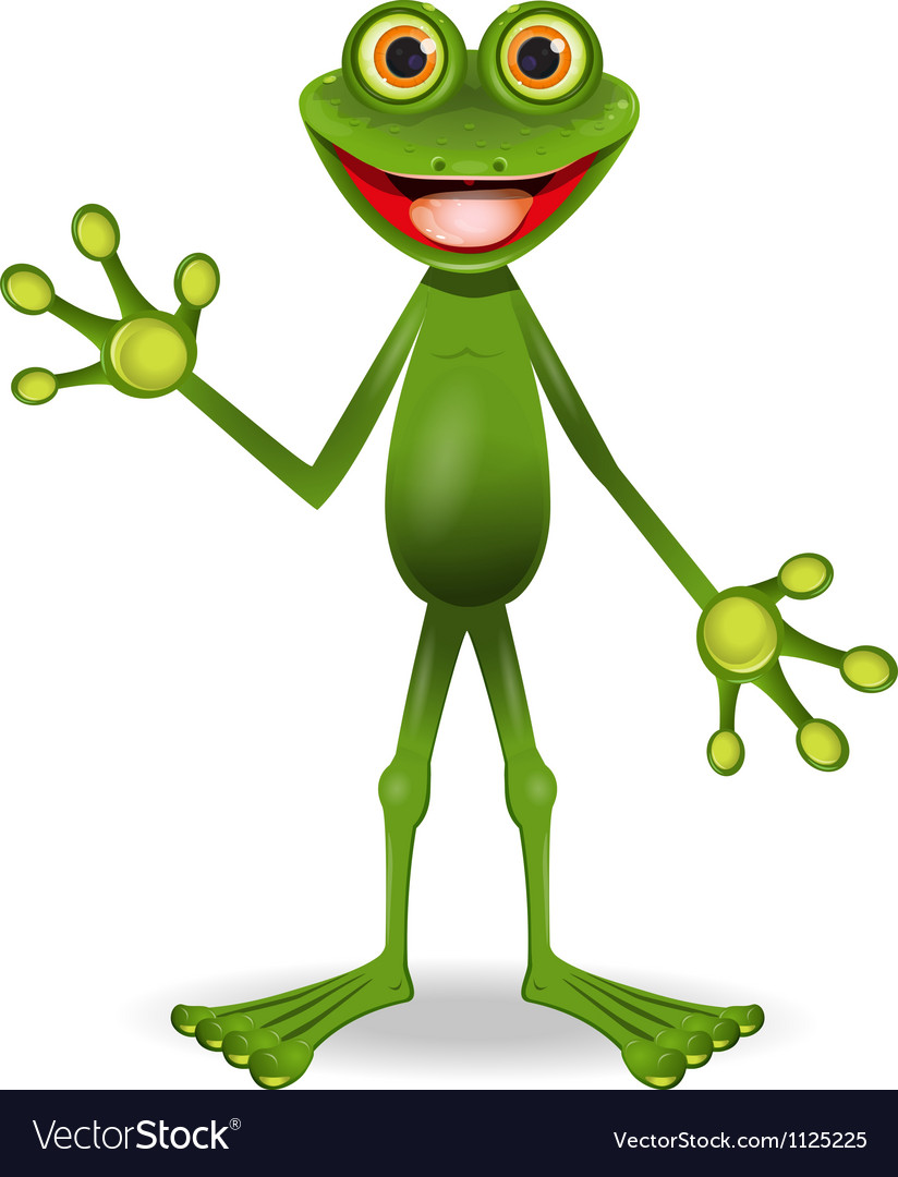 Very cheerful frog vector image