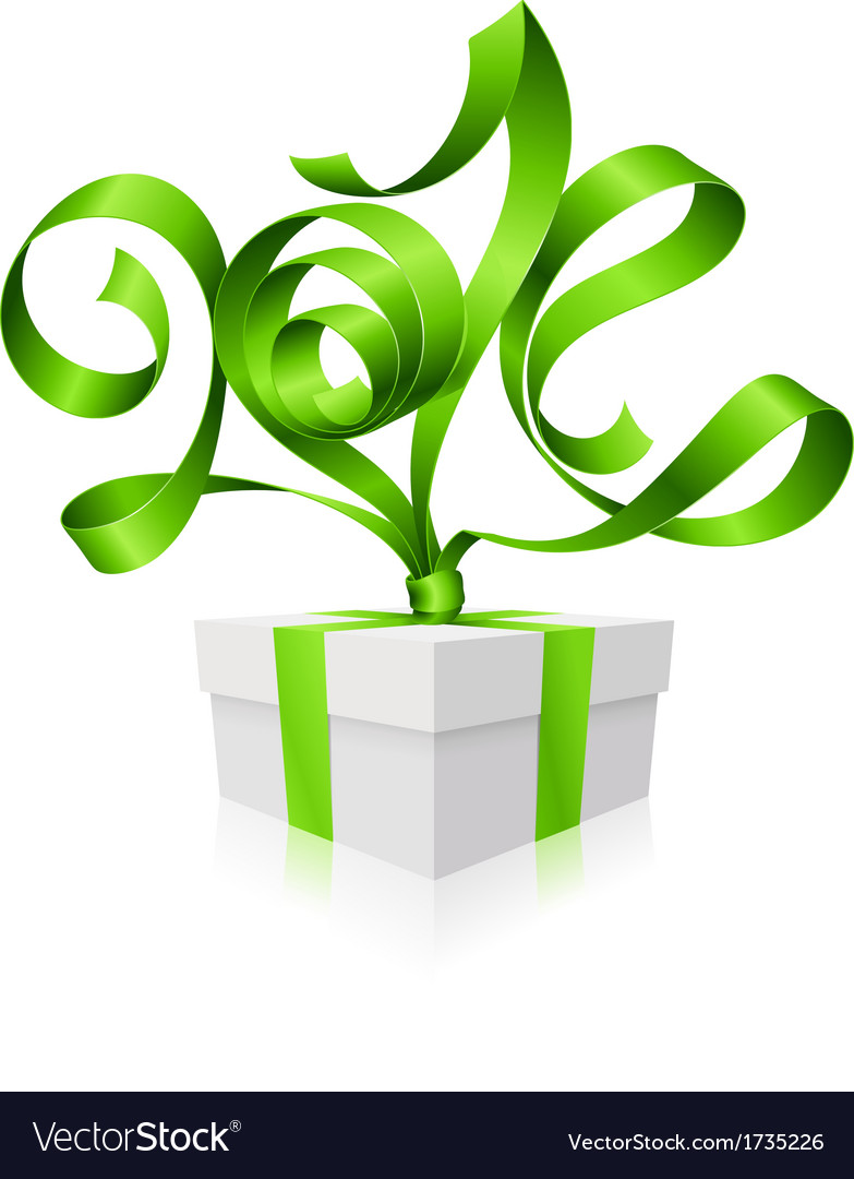Gift box and green ribbon in the shape of 2014 vector image