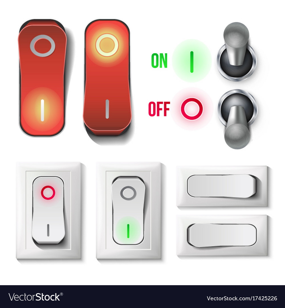 Toggle switch set plastic and metal royalty free vector toggle switch set plastic and metal vector image biocorpaavc Images