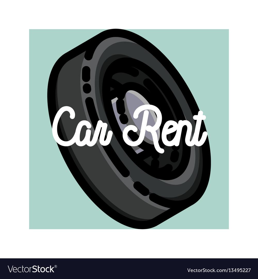 Color vintage car rent emblem vector image
