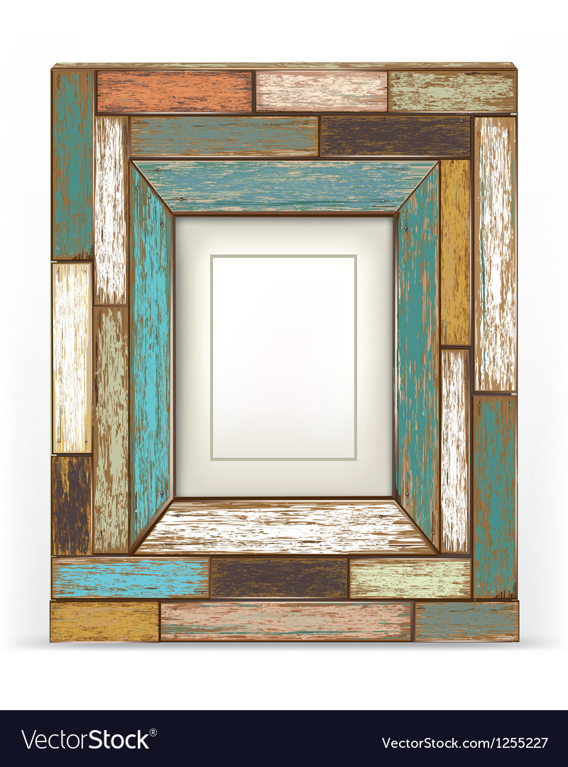 Old vintage wood frame vector image
