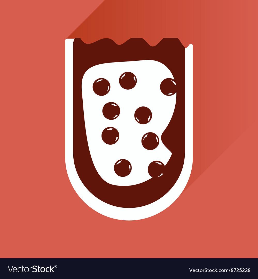 Flat icon with long shadow sandwich caviar