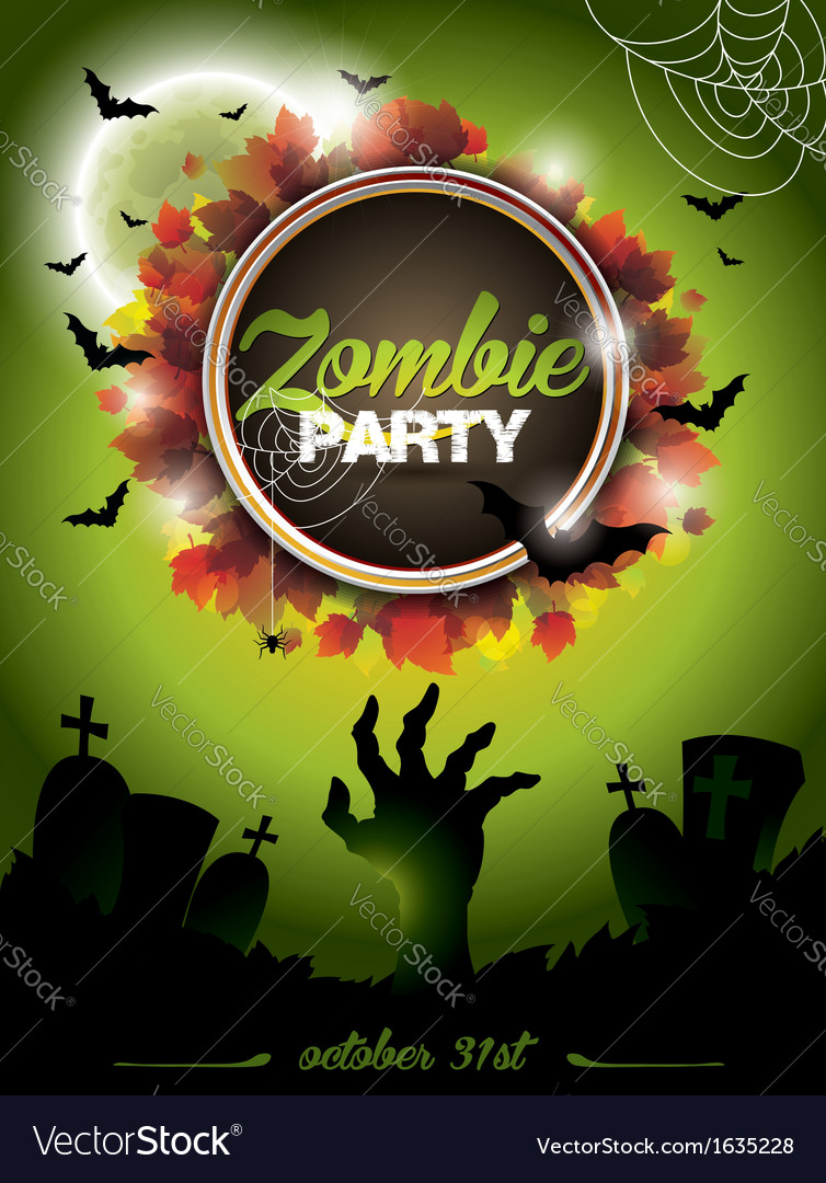On a Halloween Zombie Party theme vector image
