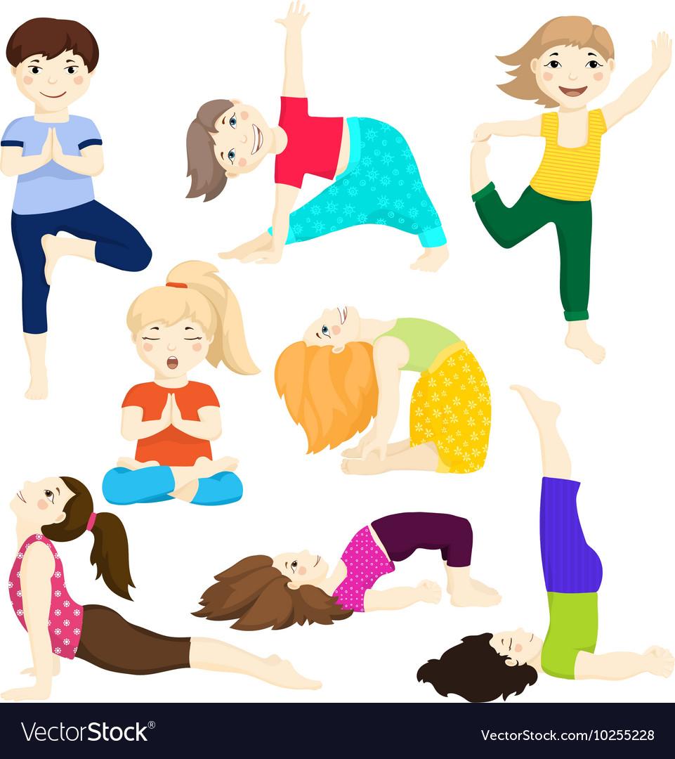 Yoga kids set 3 vector image