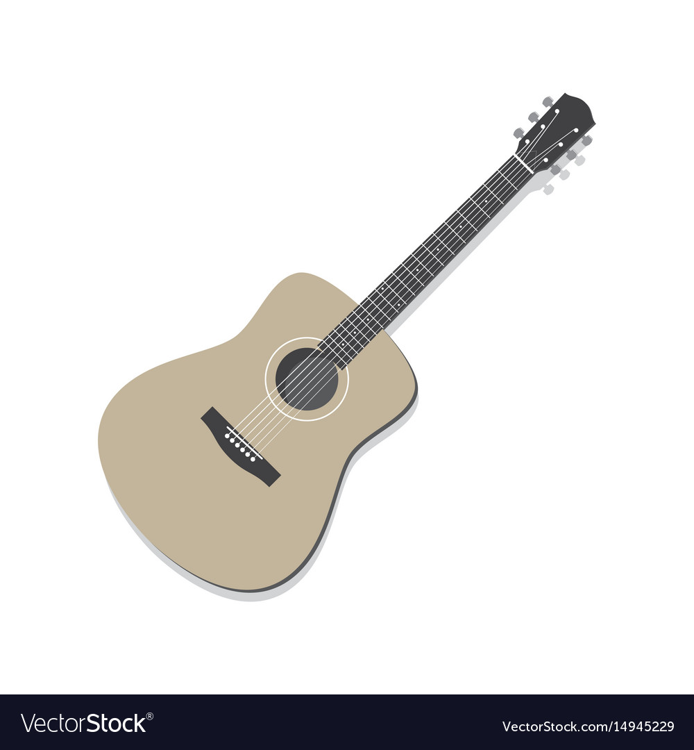 Acoustic guitar isolated vector image