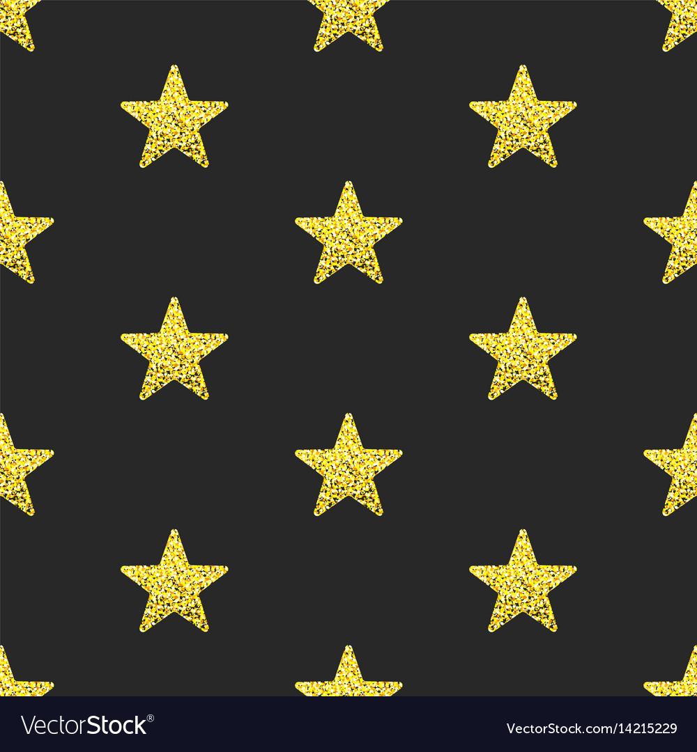 Gold glitter stars seamless pattern vector image