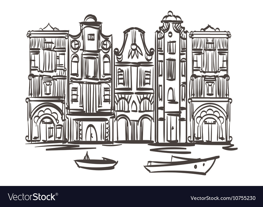 Old houses art Isolated Eps 10 vector image