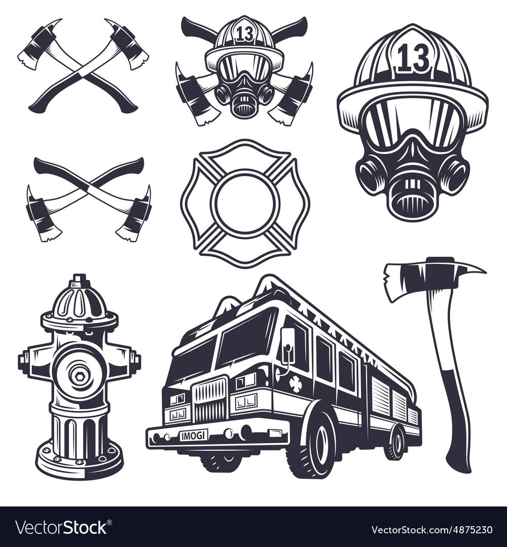 Set of designed firefighter elements vector image