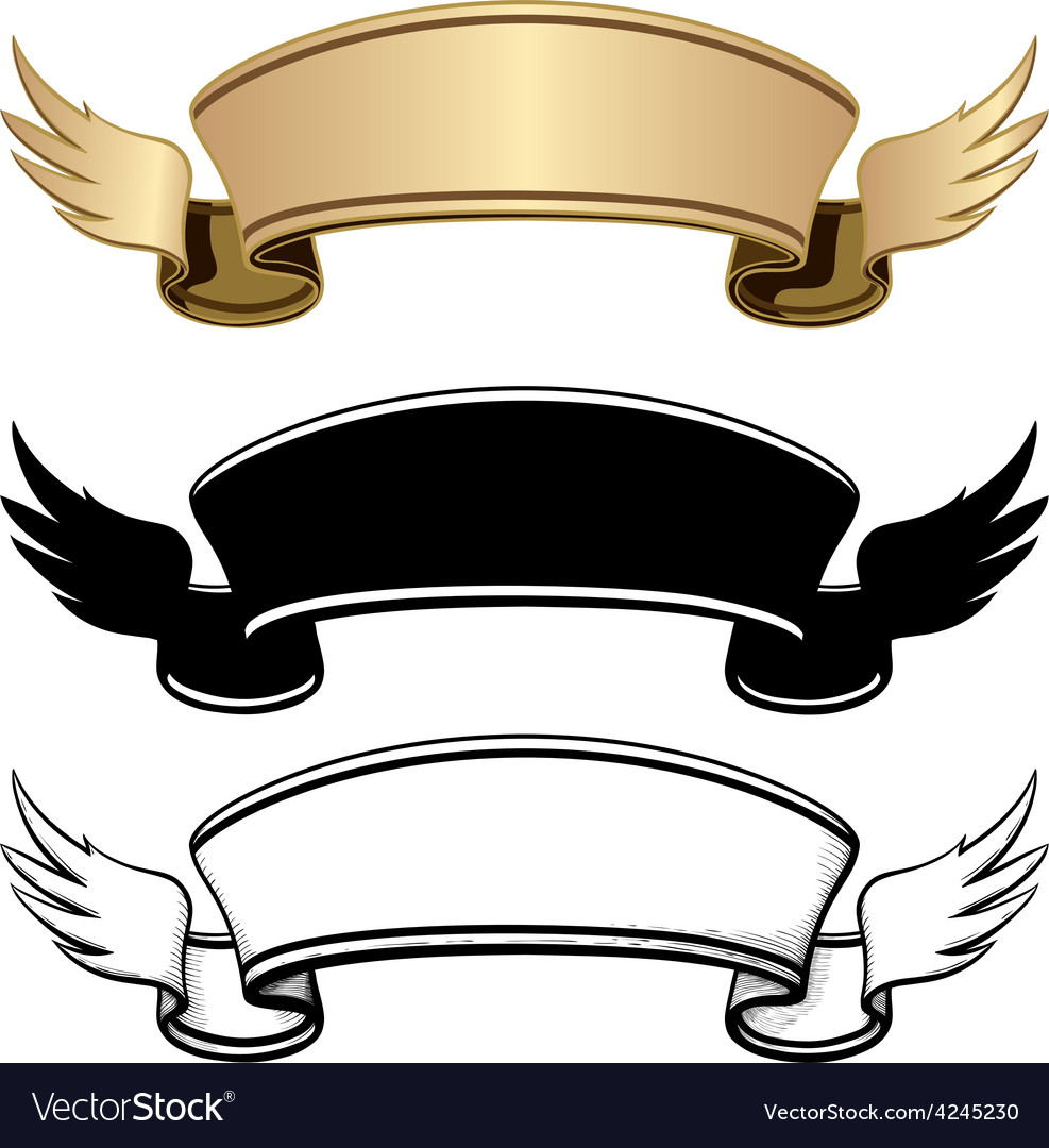 Three ribbon with wings vector image