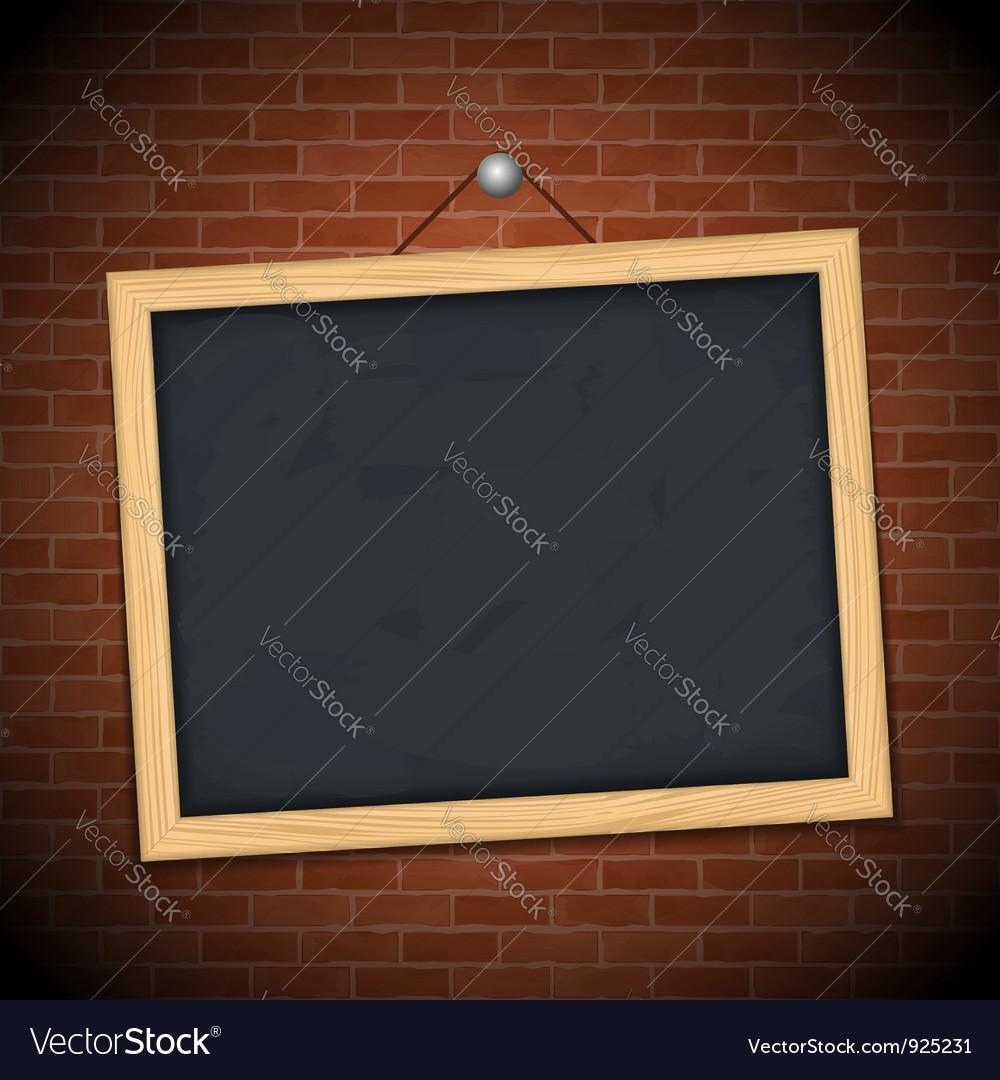 Blackboard on brick wall vector image