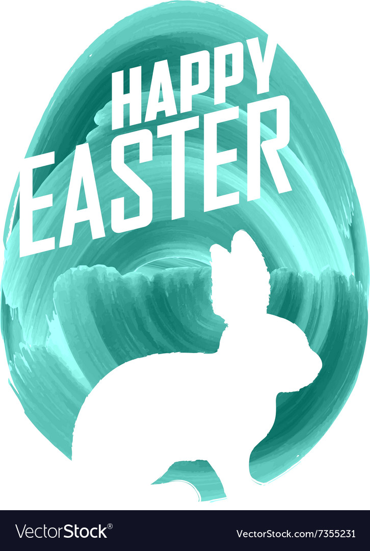 Easter bunny on watercolor background vector image