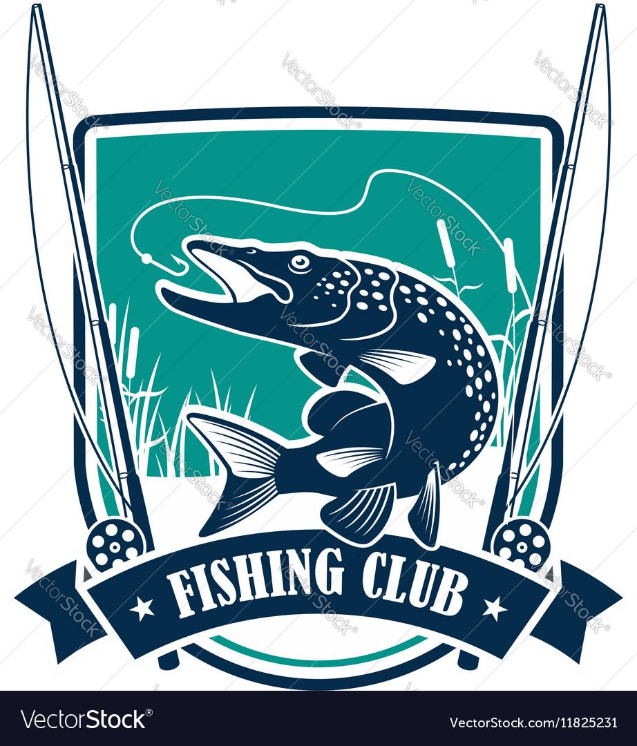 Fishing club heraldic symbol with pike fish vector image