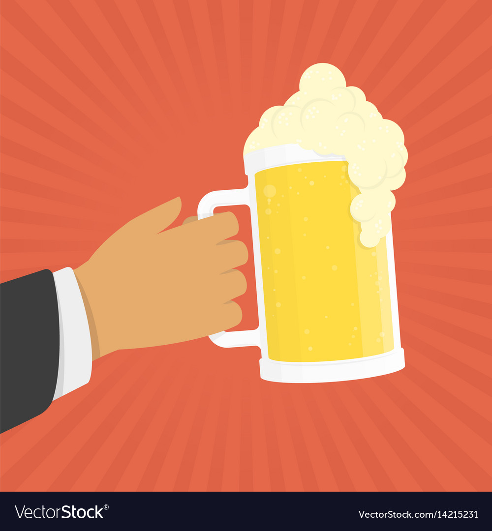 Hand hold beer vector image