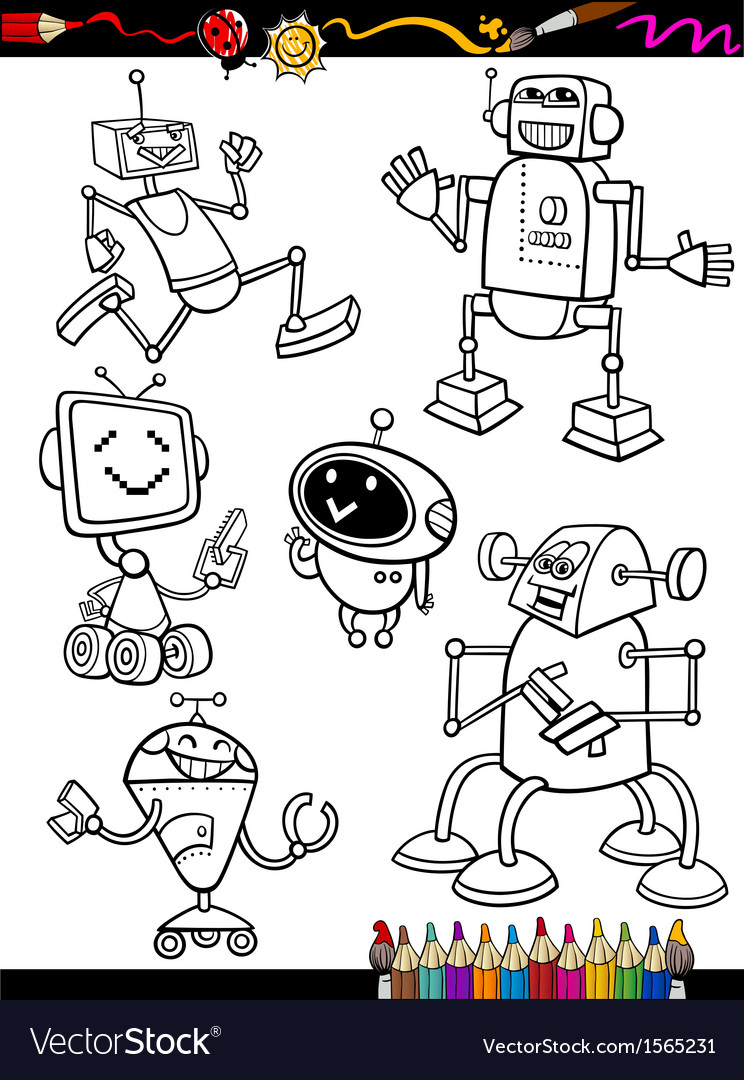 Robots Cartoon Set For Coloring Book Royalty Free Vector