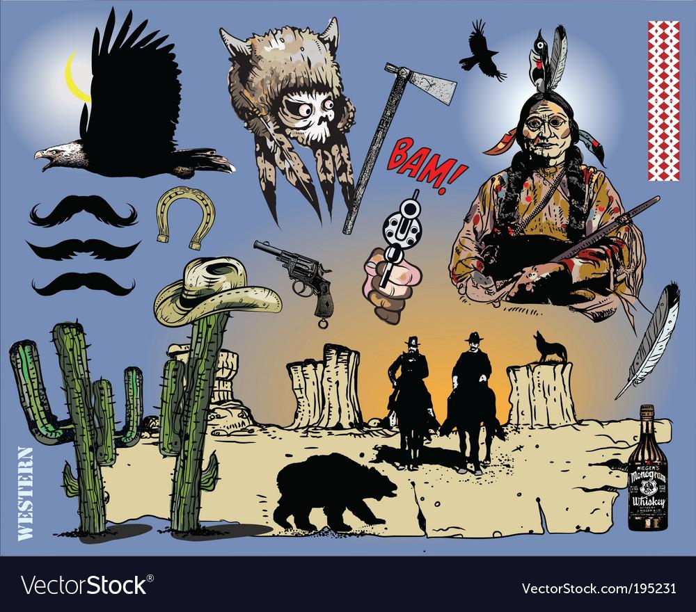 Western design elements vector image