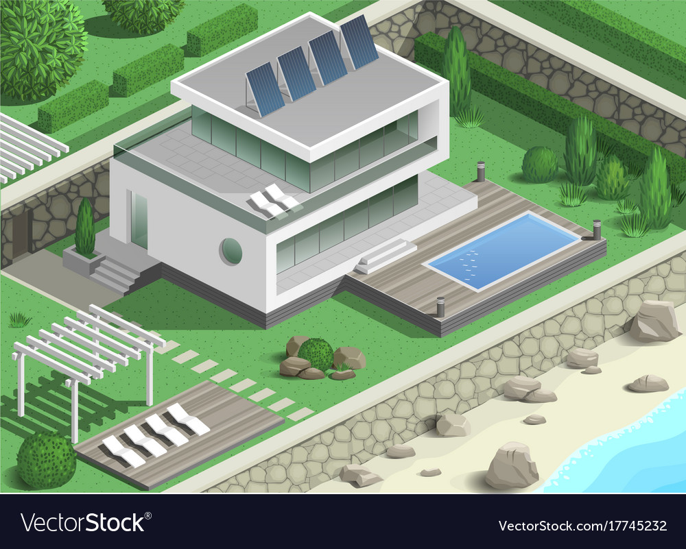 Modern villa on the coast vector image