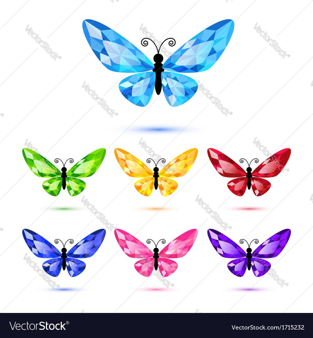 Set of diamond butterflies vector image