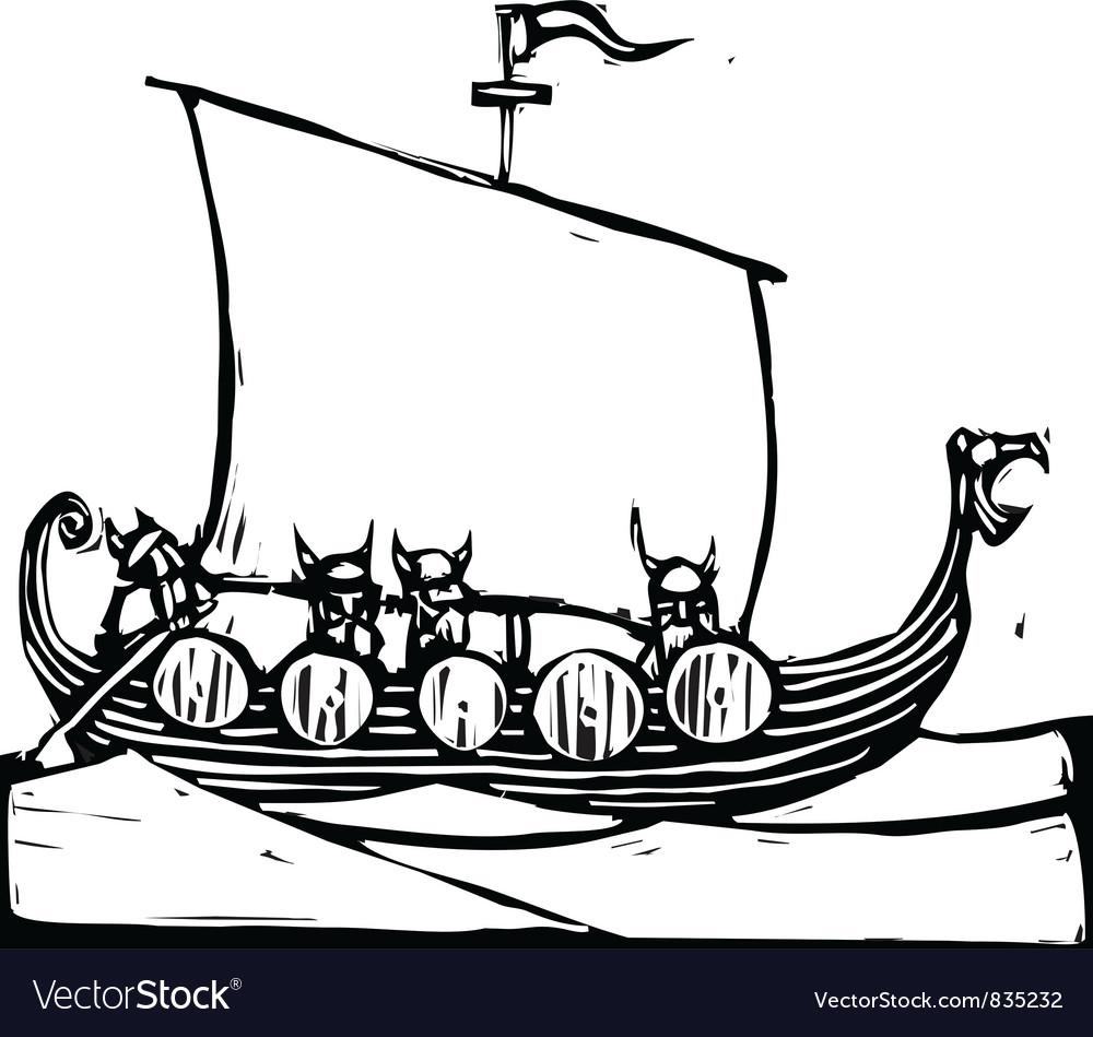 Viking Ship Royalty Free Vector Image - VectorStock