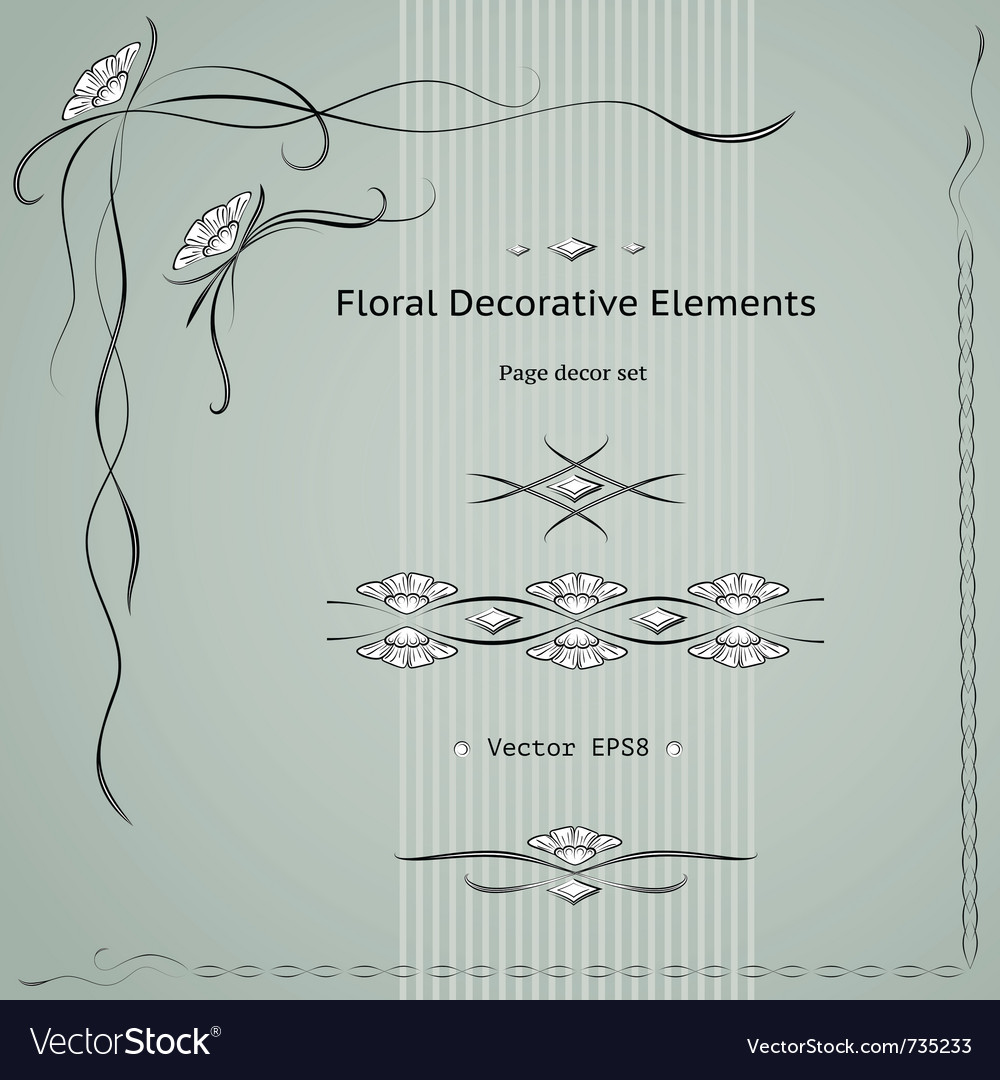 Floral decoration elements Vector Image