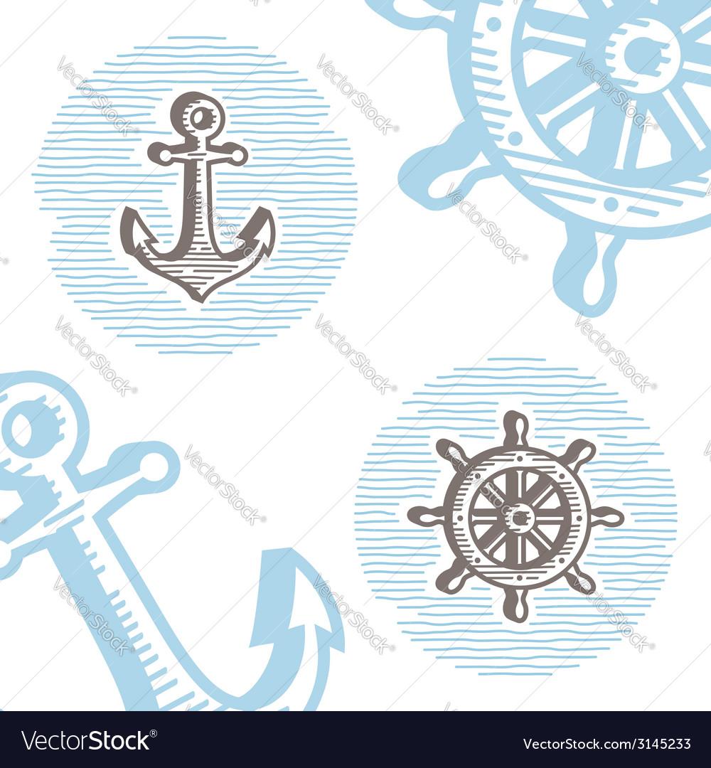 Vintage marine symbols icon set engraving anchor vector image