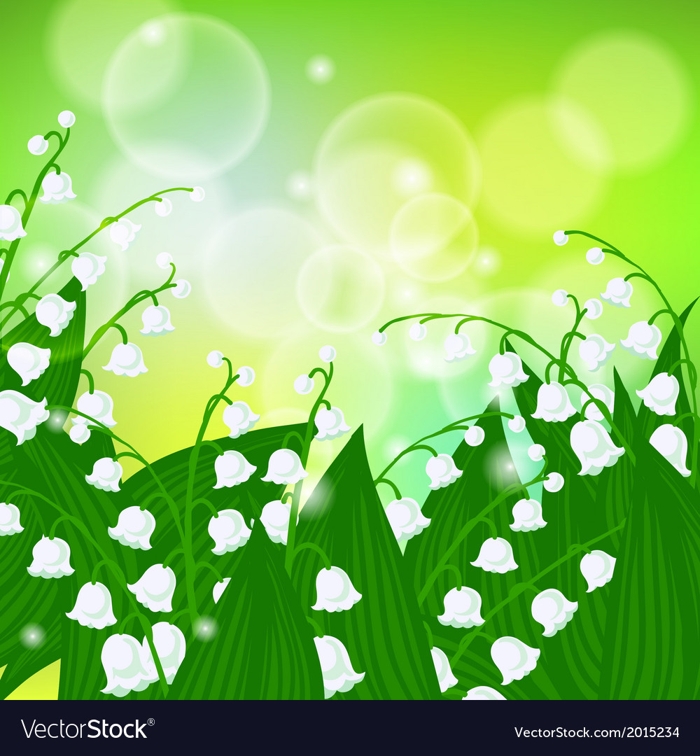 Card with field of lily of the valley flowers vector image izmirmasajfo Images