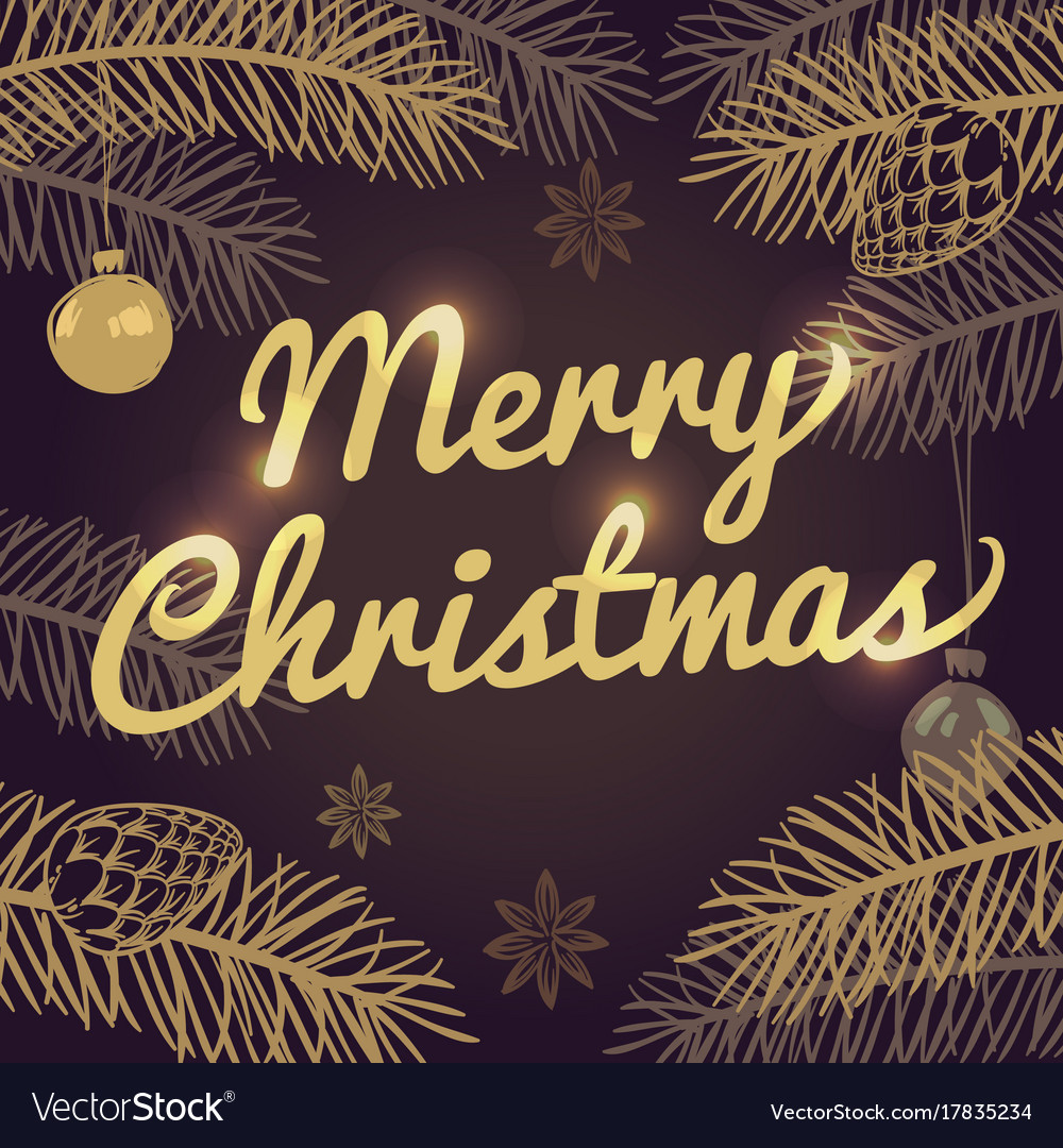 Happy merry christmas holiday greeting card vector image kristyandbryce Gallery
