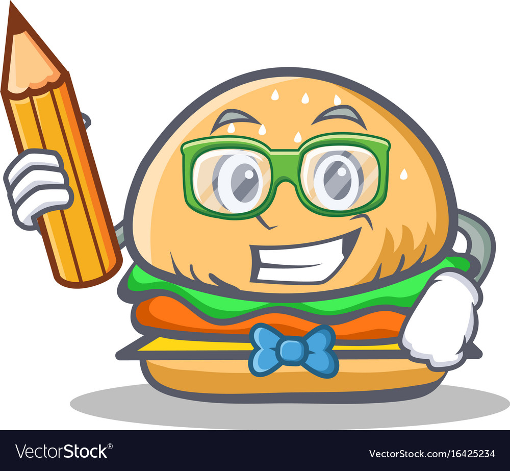 Student burger character fast food with pencil vector image