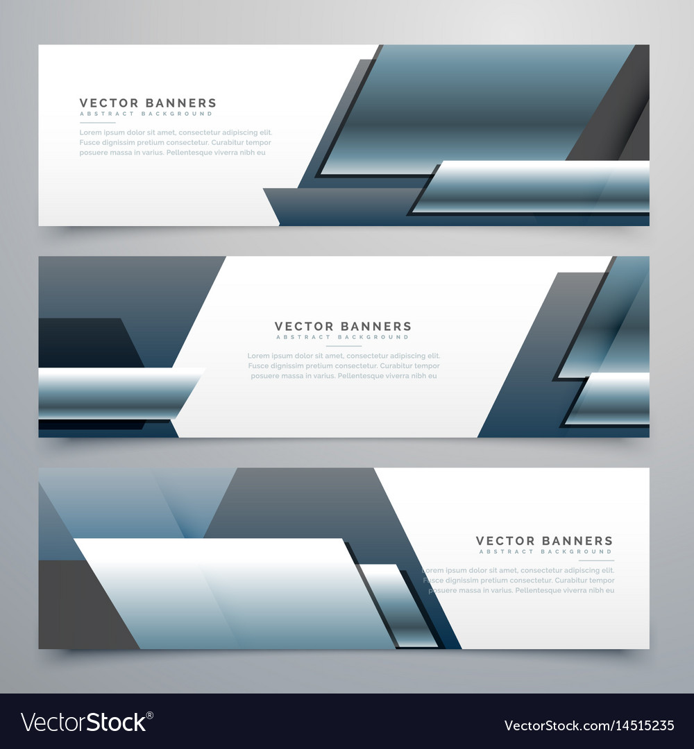 Business banners set of three professional headers vector image
